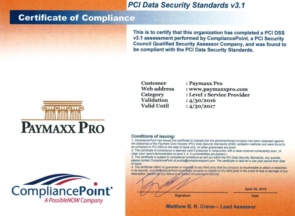 PCI Compliance Certificate